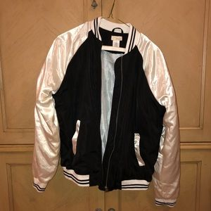 shimmery black and white bomber jacket